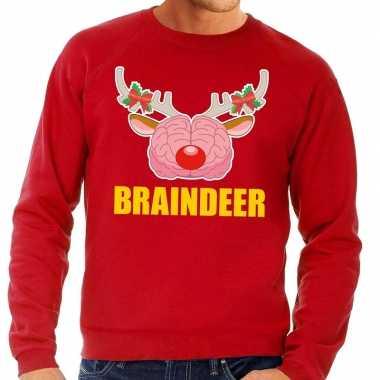 Goedkope foute kersttrui braindeer rood voor heren