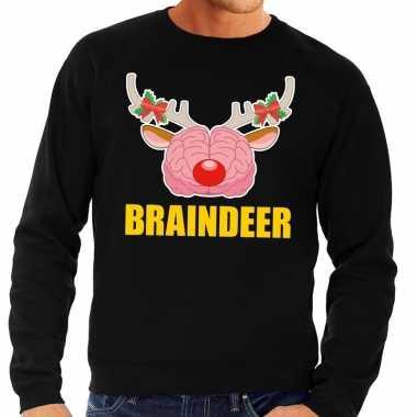 Goedkope foute kersttrui braindeer zwart voor heren
