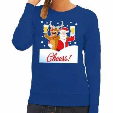 Goedkope foute kersttrui cheers met dronken kerstman blauw dames