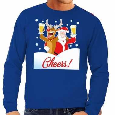 Goedkope foute kersttrui cheers met dronken kerstman blauw heren