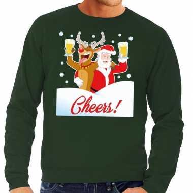 Goedkope foute kersttrui cheers met dronken kerstman groen heren