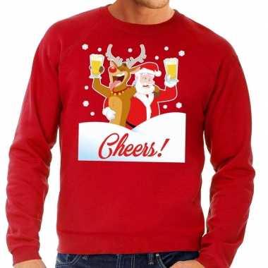 Goedkope foute kersttrui cheers met dronken kerstman rood heren
