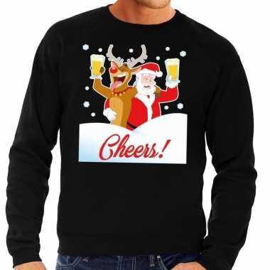 Goedkope foute kersttrui cheers met dronken kerstman zwart heren