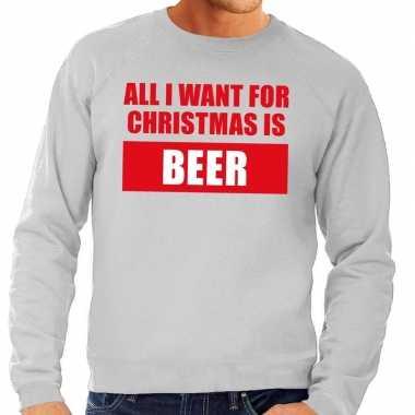 Goedkope foute kersttrui christmas beer grijs voor heren