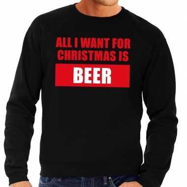 Goedkope foute kersttrui christmas beer zwart voor heren
