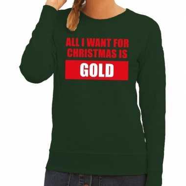 Goedkope foute kersttrui christmas gold groen voor dames