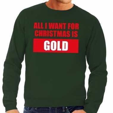 Goedkope foute kersttrui christmas gold groen voor heren