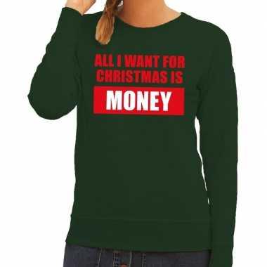 Goedkope foute kersttrui christmas money groen voor dames