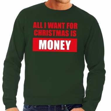 Goedkope foute kersttrui christmas money groen voor heren