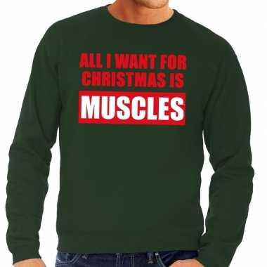 Goedkope foute kersttrui christmas muscles groen voor heren