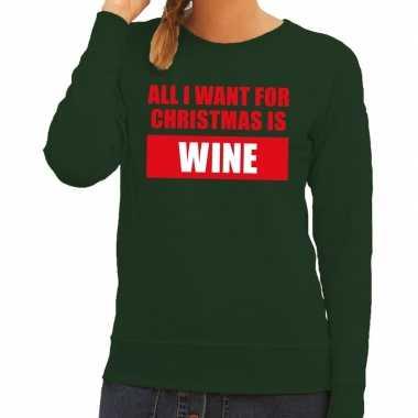 Goedkope foute kersttrui christmas wine groen voor dames