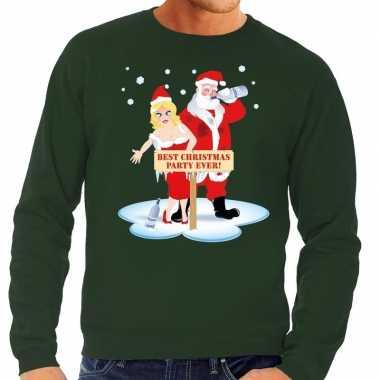 Goedkope foute kersttrui dronken kerstman en kerstvrouw groen heren