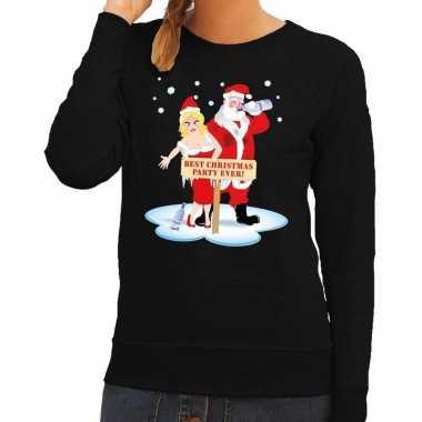 Goedkope foute kersttrui dronken kerstman en kerstvrouw zwart dames