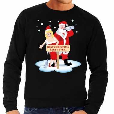 Goedkope foute kersttrui dronken kerstman en kerstvrouw zwart heren
