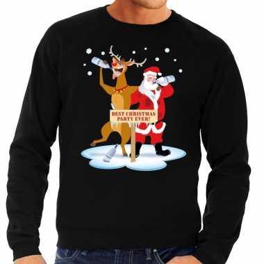 Goedkope foute kersttrui dronken kerstman en rendier rudolf zwart her