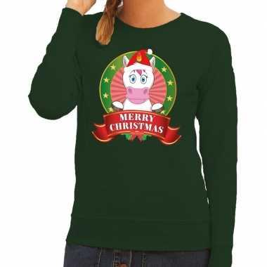 Goedkope foute kersttrui eenhoorn groen merry christmas voor dames