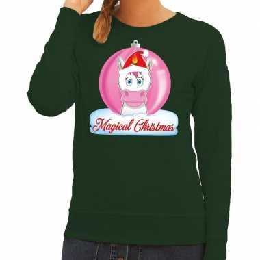 Goedkope foute kersttrui eenhoorn magical christmas groene dames swea