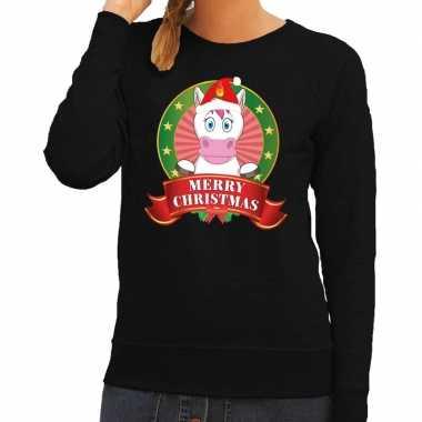 Goedkope foute kersttrui eenhoorn zwart merry christmas voor dames