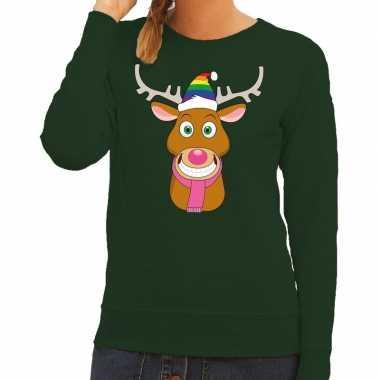 Goedkope foute kersttrui gay rudolf het rendier groen dames