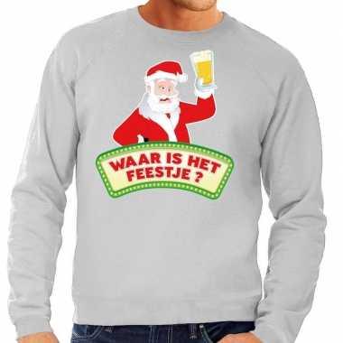 Goedkope foute kersttrui grijs waar is het feestje voor heren
