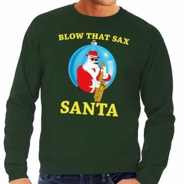 Goedkope foute kersttrui groen blow that sax voor heren
