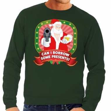Goedkope foute kersttrui groen can i borrow some presents voor heren