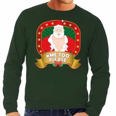 Goedkope foute kersttrui groen hashtag me too please voor heren