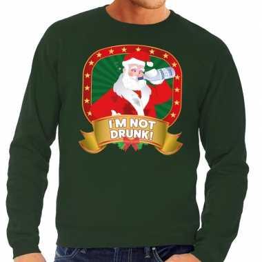 Goedkope foute kersttrui groen im not drunk voor heren
