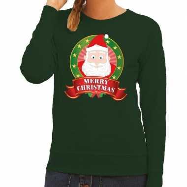 Goedkope foute kersttrui groen kerstman merry christmas voor dames