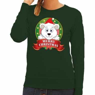 Goedkope foute kersttrui groen merry christmas ijsbeer voor dames