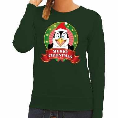Goedkope foute kersttrui groen merry christmas pinguin voor dames