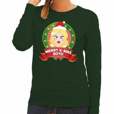 Goedkope foute kersttrui groen merry x mas boys voor dames