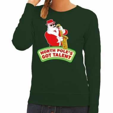 Goedkope foute kersttrui groen north poles got talent voor dames