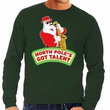 Goedkope foute kersttrui groen north poles got talent voor heren