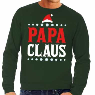 Goedkope foute kersttrui groen papa claus voor heren