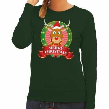Goedkope foute kersttrui groen rudolph merry christmas voor dames