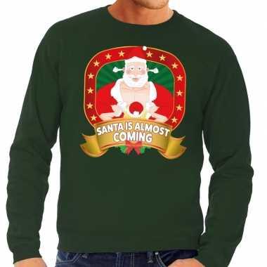 Goedkope foute kersttrui groen santa is almost coming voor heren
