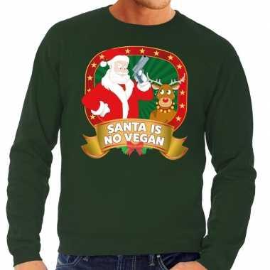 Goedkope foute kersttrui groen santa is no vegan voor heren