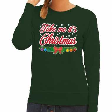 Goedkope foute kersttrui groen take me its christmas voor dames