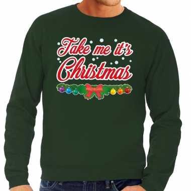 Goedkope foute kersttrui groen take me its christmas voor heren