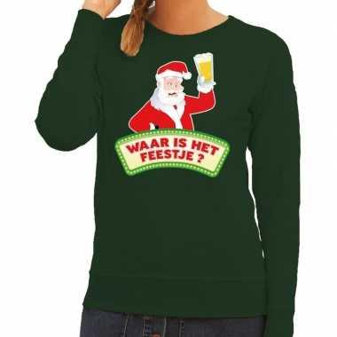 Goedkope foute kersttrui groen waar is het feestje voor dames