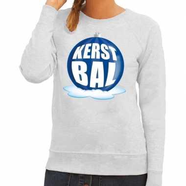Goedkope foute kersttrui kerstbal blauw op grijze sweater voor dames