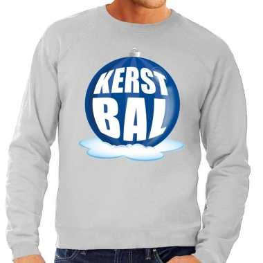 Goedkope foute kersttrui kerstbal blauw op grijze sweater voor heren