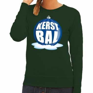 Goedkope foute kersttrui kerstbal blauw op groene sweater voor dames
