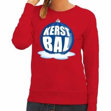 Goedkope foute kersttrui kerstbal blauw op rode sweater voor dames