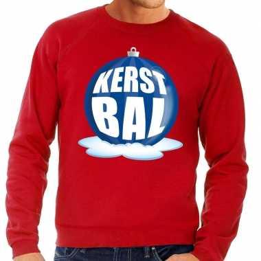 Goedkope foute kersttrui kerstbal blauw op rode sweater voor heren