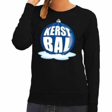 Goedkope foute kersttrui kerstbal blauw op zwarte sweater voor dames