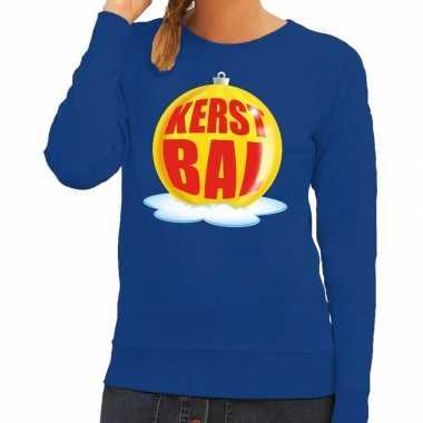 Goedkope foute kersttrui kerstbal geel op blauwe sweater voor dames
