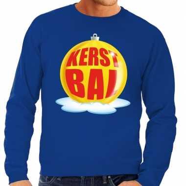Goedkope foute kersttrui kerstbal geel op blauwe sweater voor heren