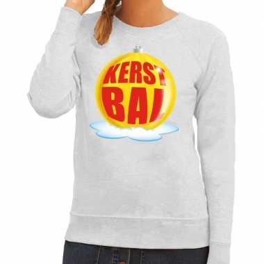 Goedkope foute kersttrui kerstbal geel op grijze sweater voor dames